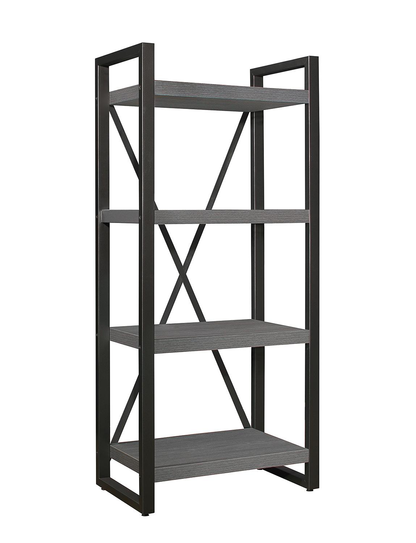 Homelegance Dogue 4-Shelf Bookcase - Gunmetal - Gray