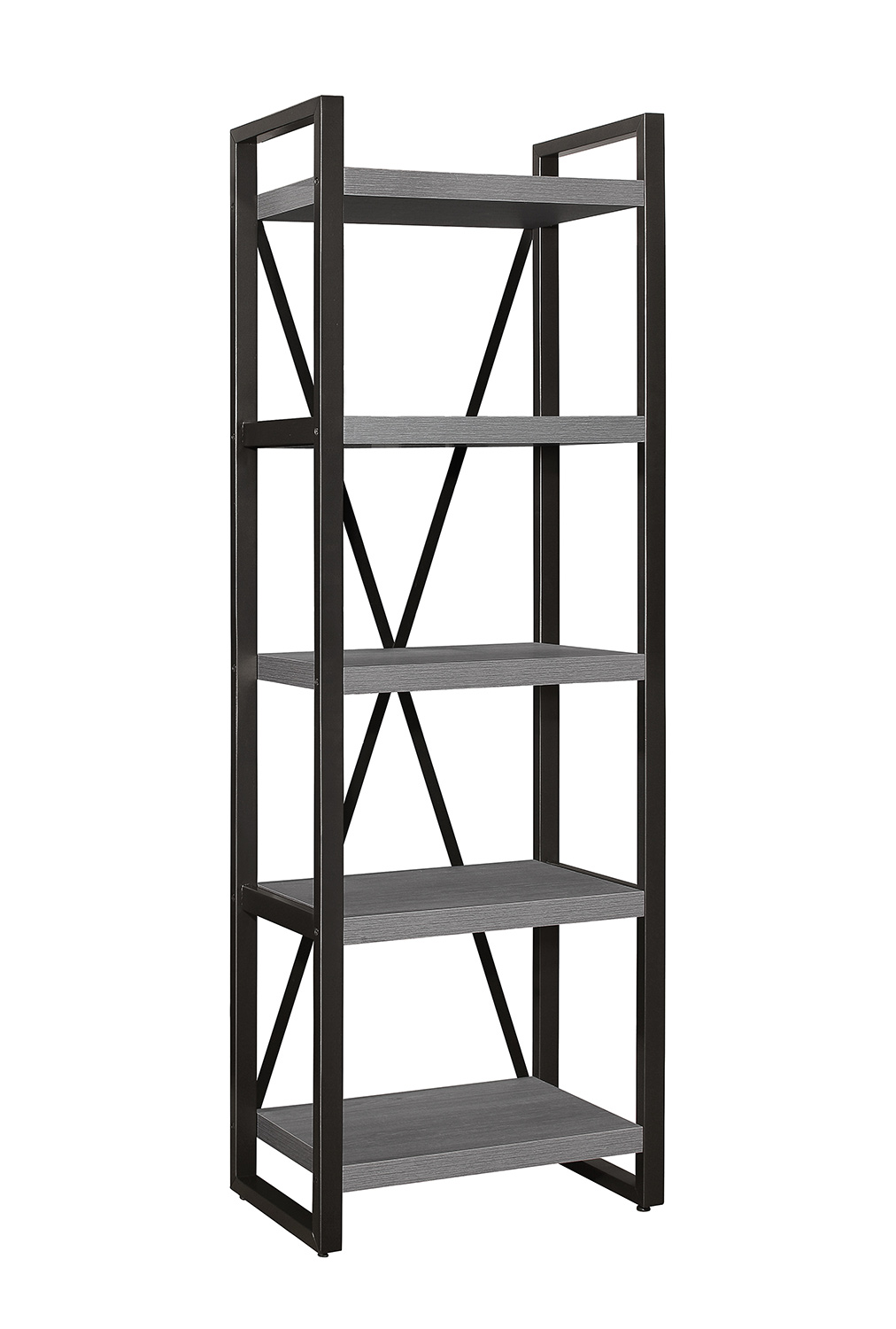 Homelegance Dogue 5-Shelf Bookcase - Gunmetal - Gray