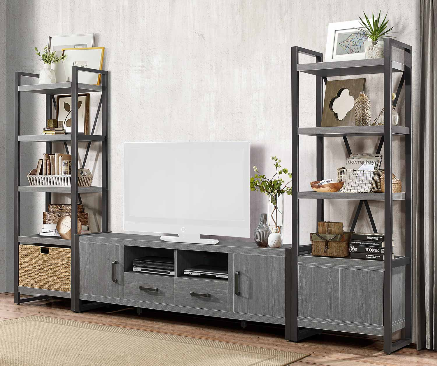 Homelegance Dogue 76-inch Entertainment Center Set - Gunmetal - Gray