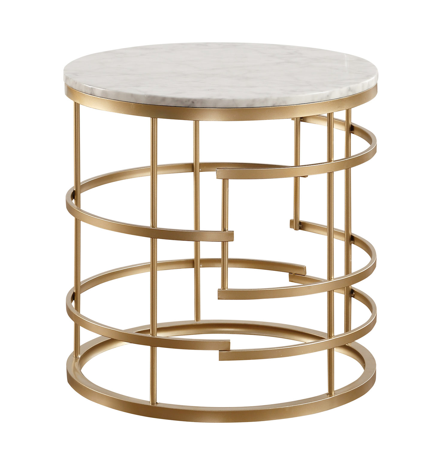 Homelegance Brassica Round End Table with Faux Marble Top - Gold - White Marble Top