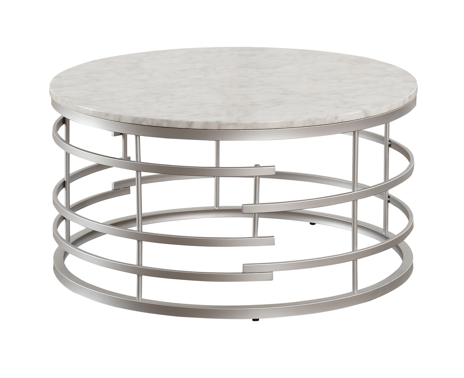 Homelegance Brassica Round Cocktail/Coffee Table with Faux Marble Top - Silver - White Marble Top