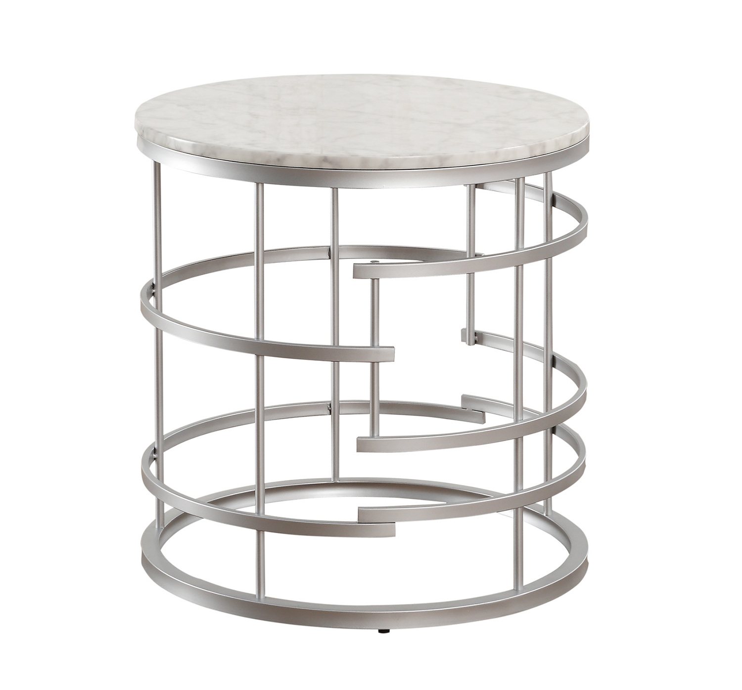 Homelegance Brassica Round End Table with Faux Marble Top - Silver - White Marble Top