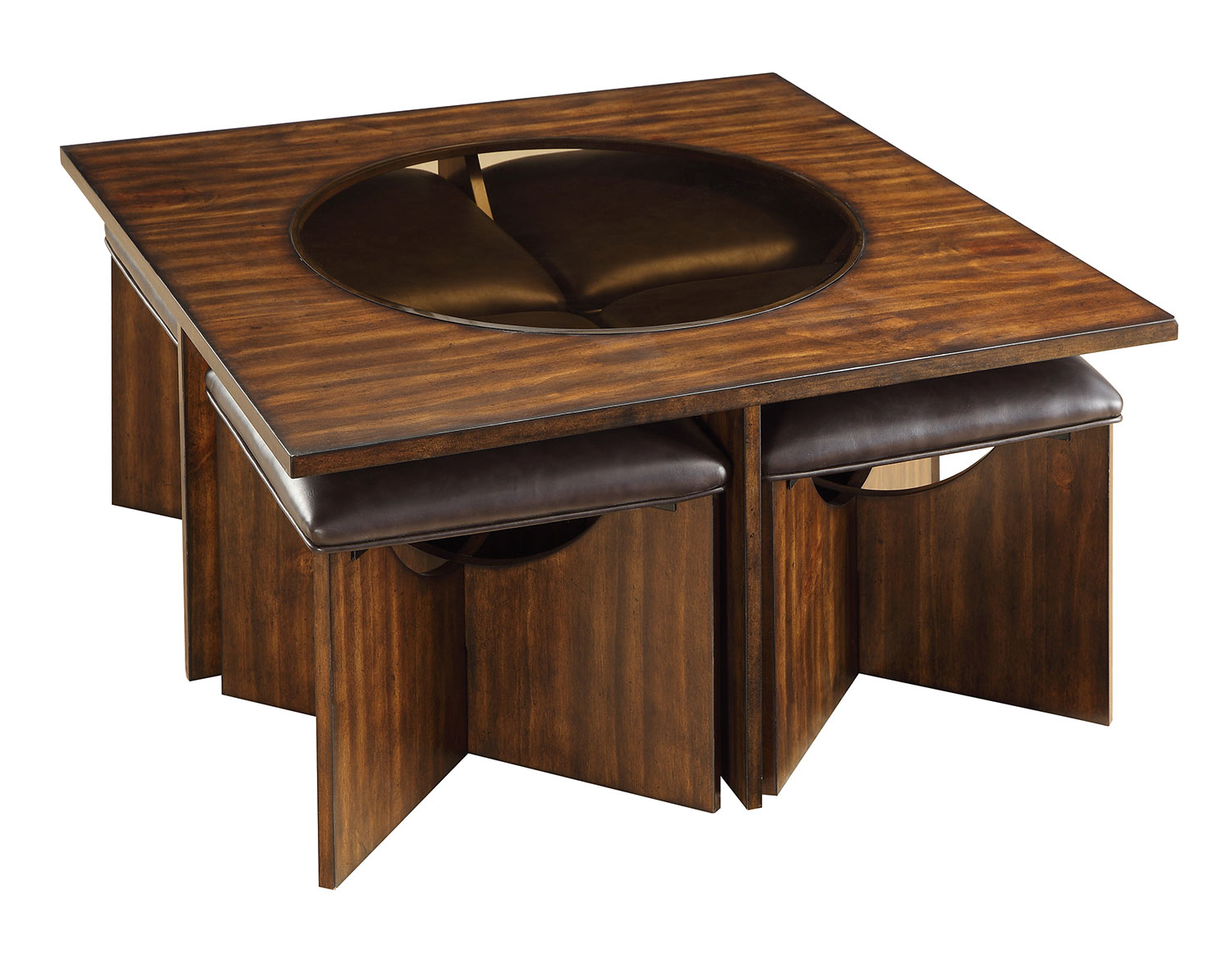 Homelegance Akita Cocktail/Coffee Table with Four Stools - Cherry