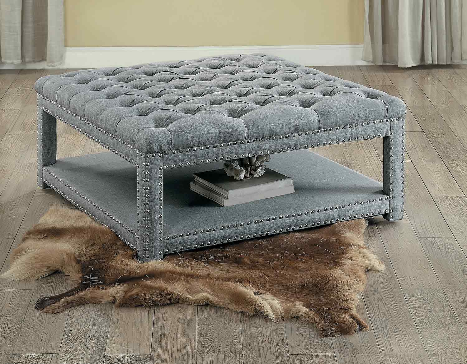 Homelegance Allium Cocktail/Coffee Ottoman - Neutral Gray