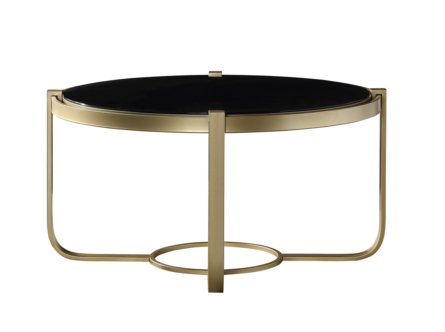 Homelegance Caracal Round Cocktail Table with Black Glass Insert - Gold