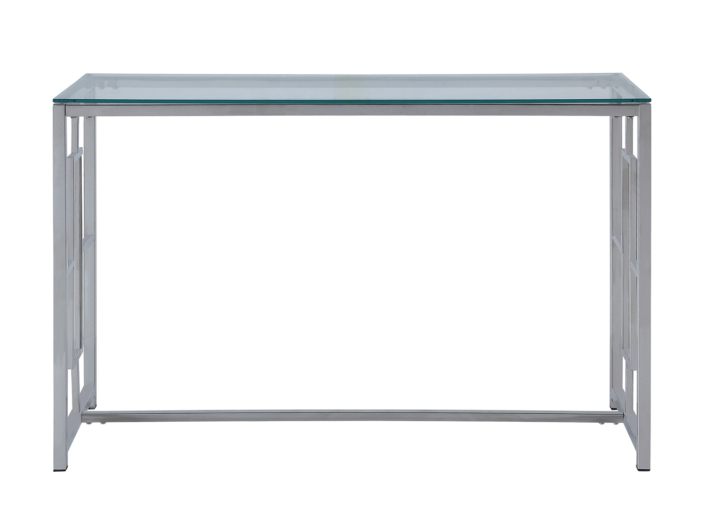 Homelegance Yesenia Sofa Table with Glass Top - Chrome