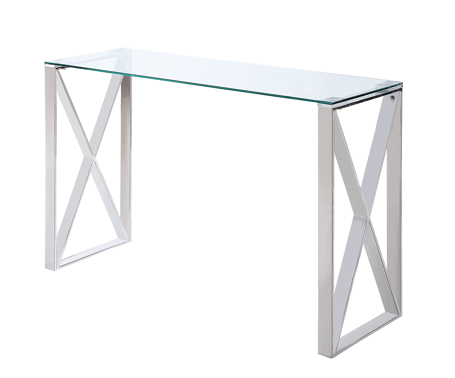 Homelegance Rush Sofa Table with Glass Top - Polished Chrome