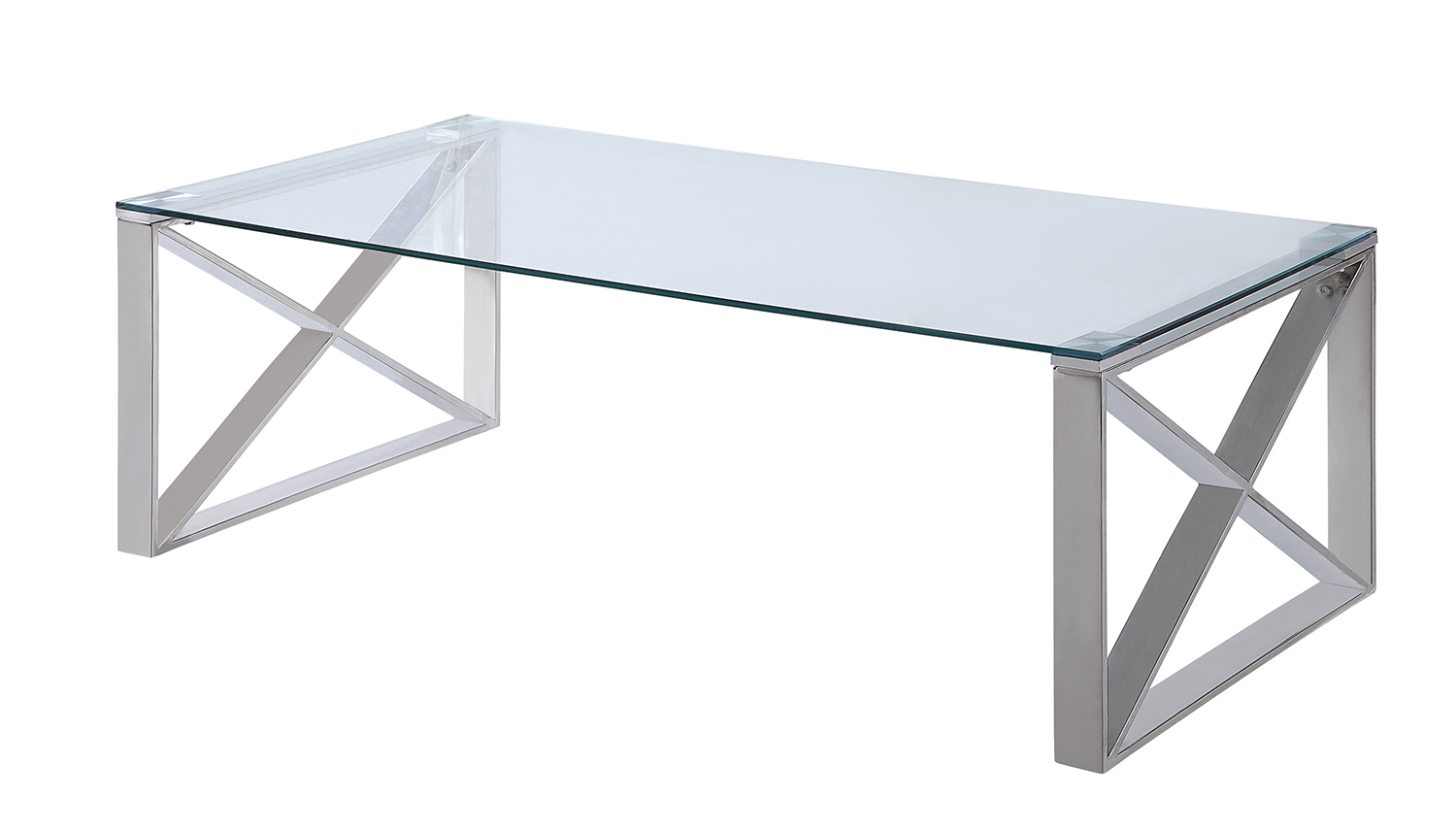 Homelegance Rush Cocktail Table with Glass Top - Polished Chrome