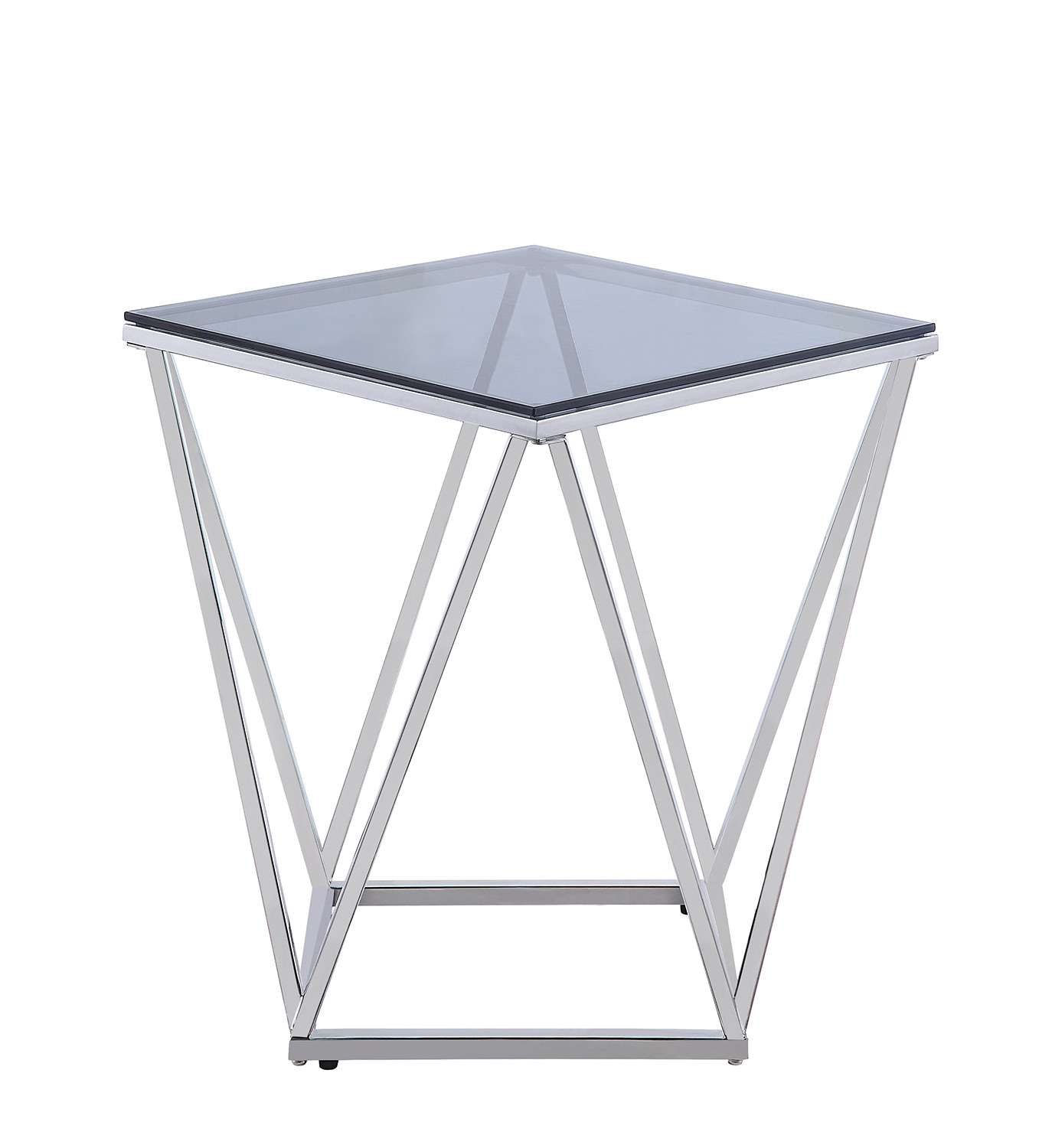 Homelegance Rex End Table with Gray Glass Insert - Silver