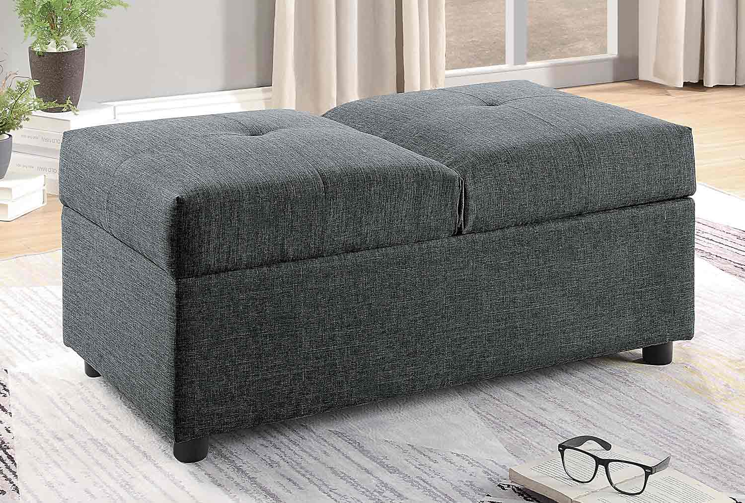 Homelegance Denby Storage Ottoman/Chair - Gray