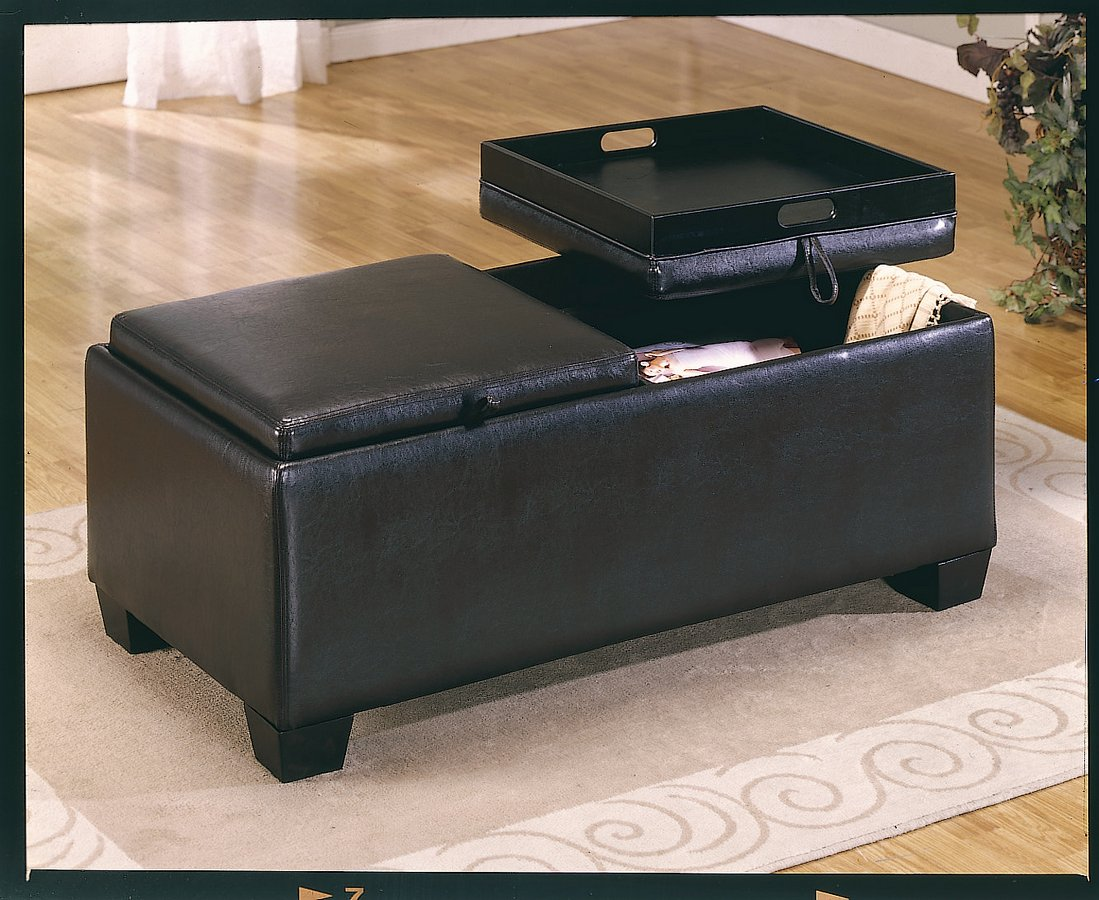 Homelegance Vega Leather Match Ottoman with 2 Storages