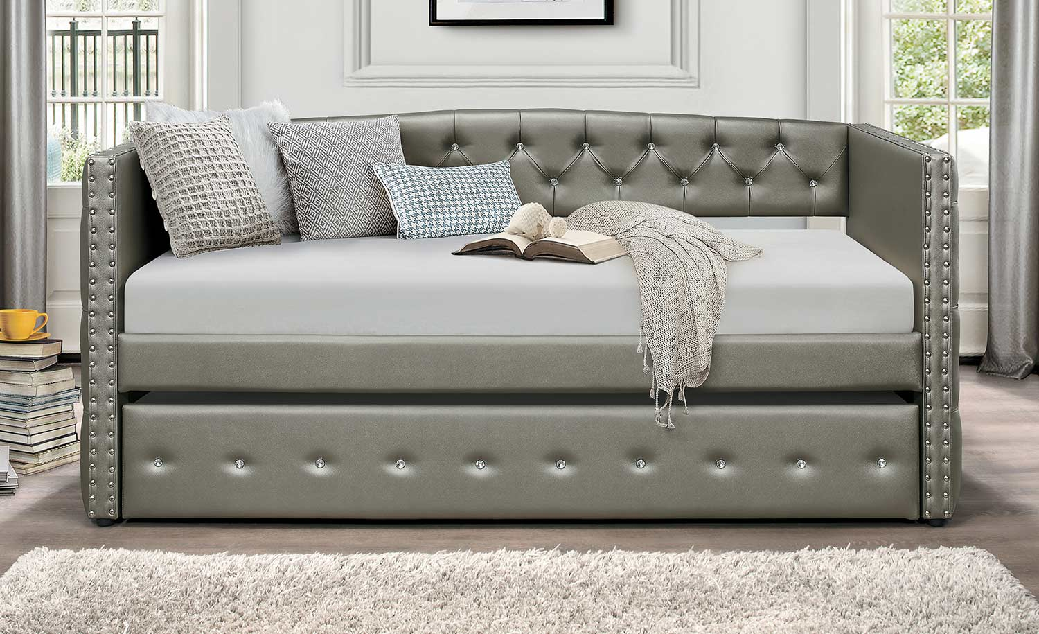 Homelegance Trill Daybed with Trundle - Silver Vinyl