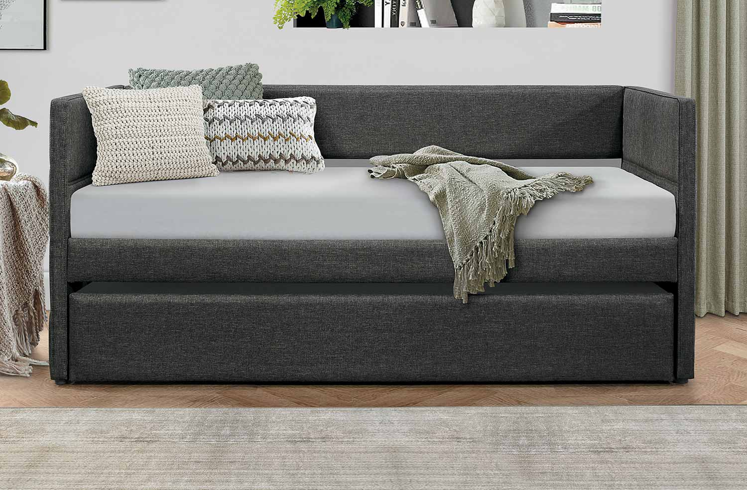 Homelegance Vining Daybed with Trundle - Dark Gray