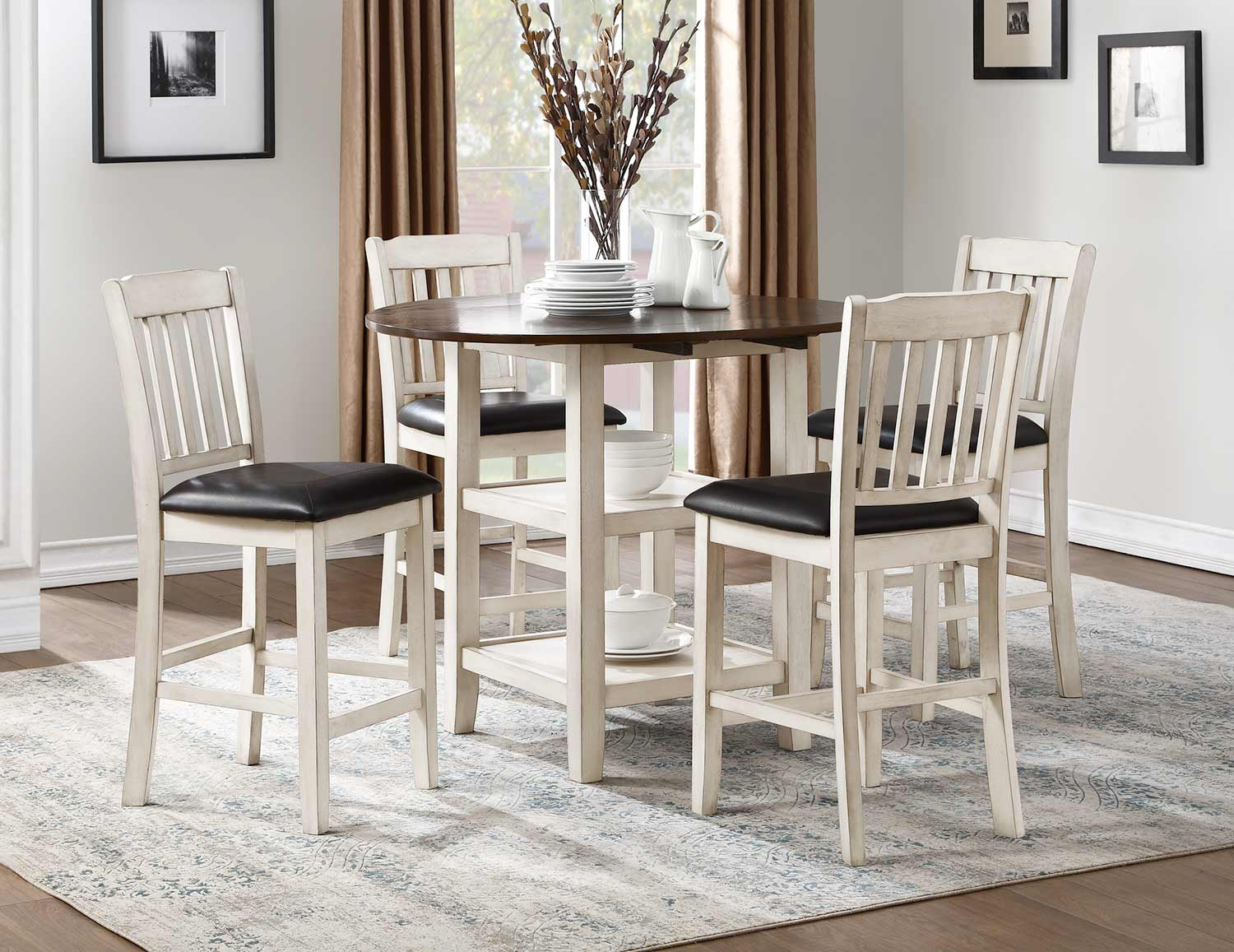 Homelegance Kiwi Counter Height Dining Set - White Wash - Dark Cherry