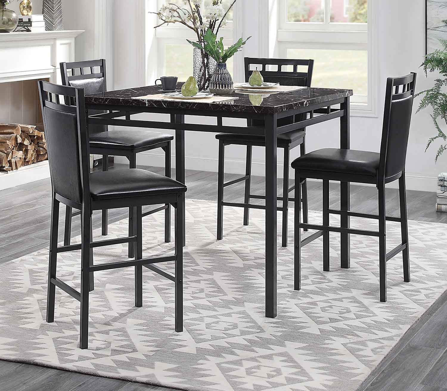 Homelegance Olney 5-Piece Pack Counter Height Set - Faux Marble Top