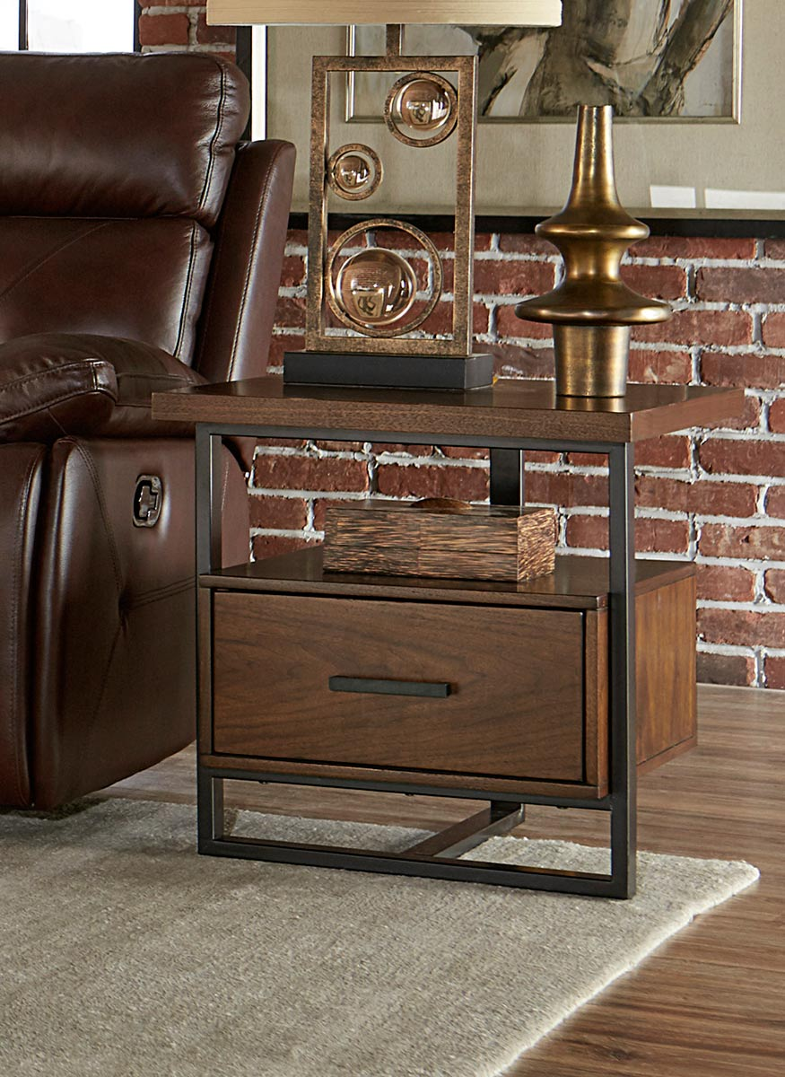 Homelegance Sedley End Table with Functional Drawer - Walnut Veneer