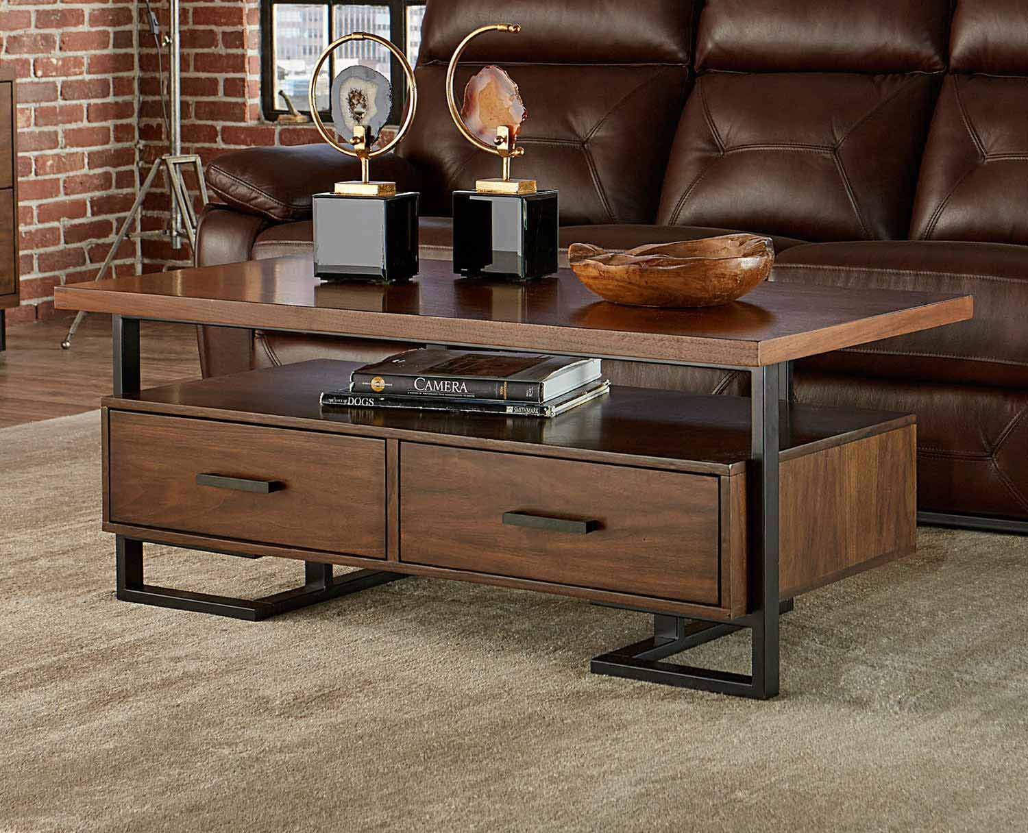 Homelegance Sedley Cocktail/Coffee Table with Two Functional Drawers - Walnut Veneer