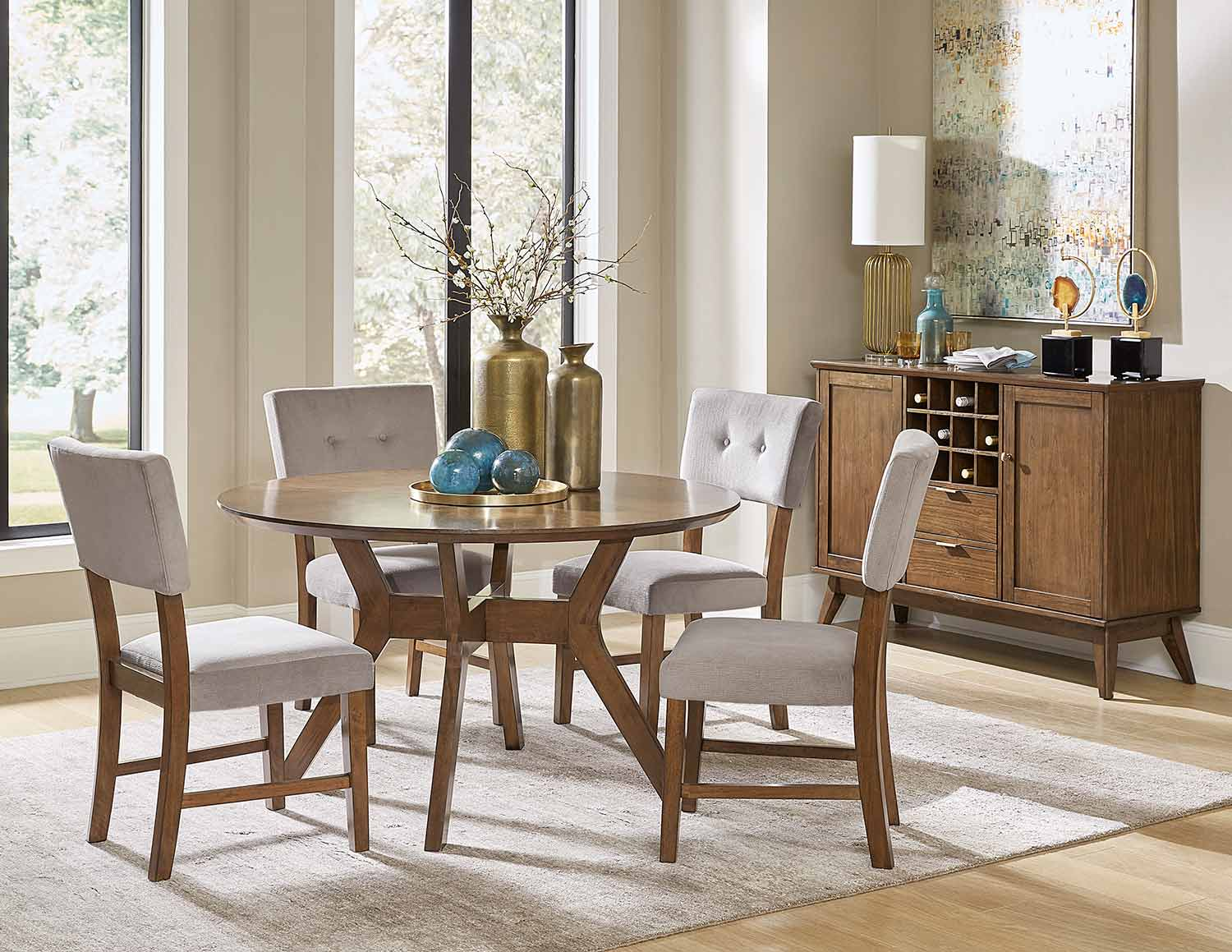 Homelegance Coel Round Dining Set - Natural