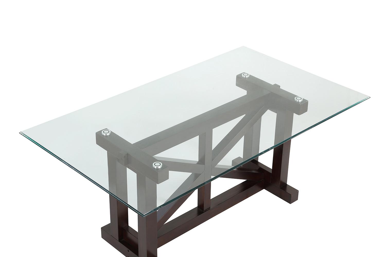 Homelegance Salema Glass Top Dining Table - Dark Brown