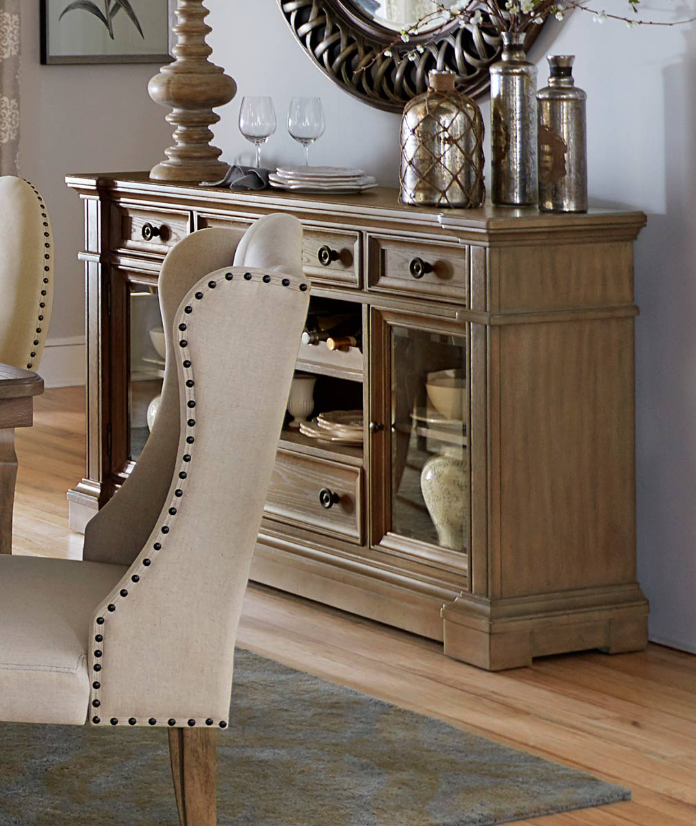 Homelegance Avignon Server With Glass Door - Natural Taupe