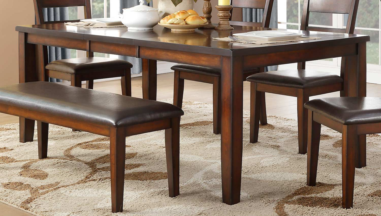 Homelegance Mantello Dining Table - Cherry - Dark Brown Bi-Cast Vinyl