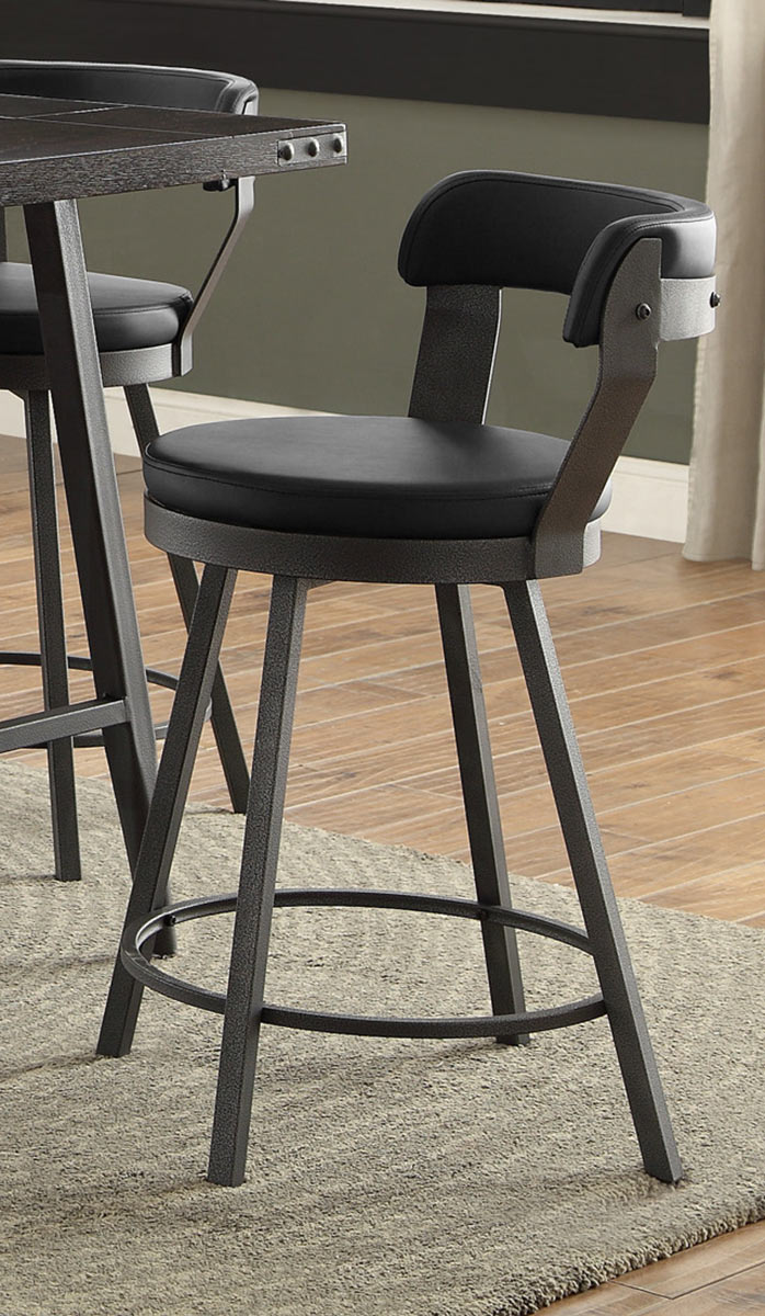 Homelegance Appert Swivel Counter Height Chair - Black - Black Bi-Cast Vinyl