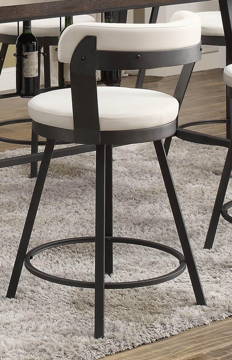 Homelegance Appert Swivel Pub Height Chair - White - Black Bi-Cast Vinyl
