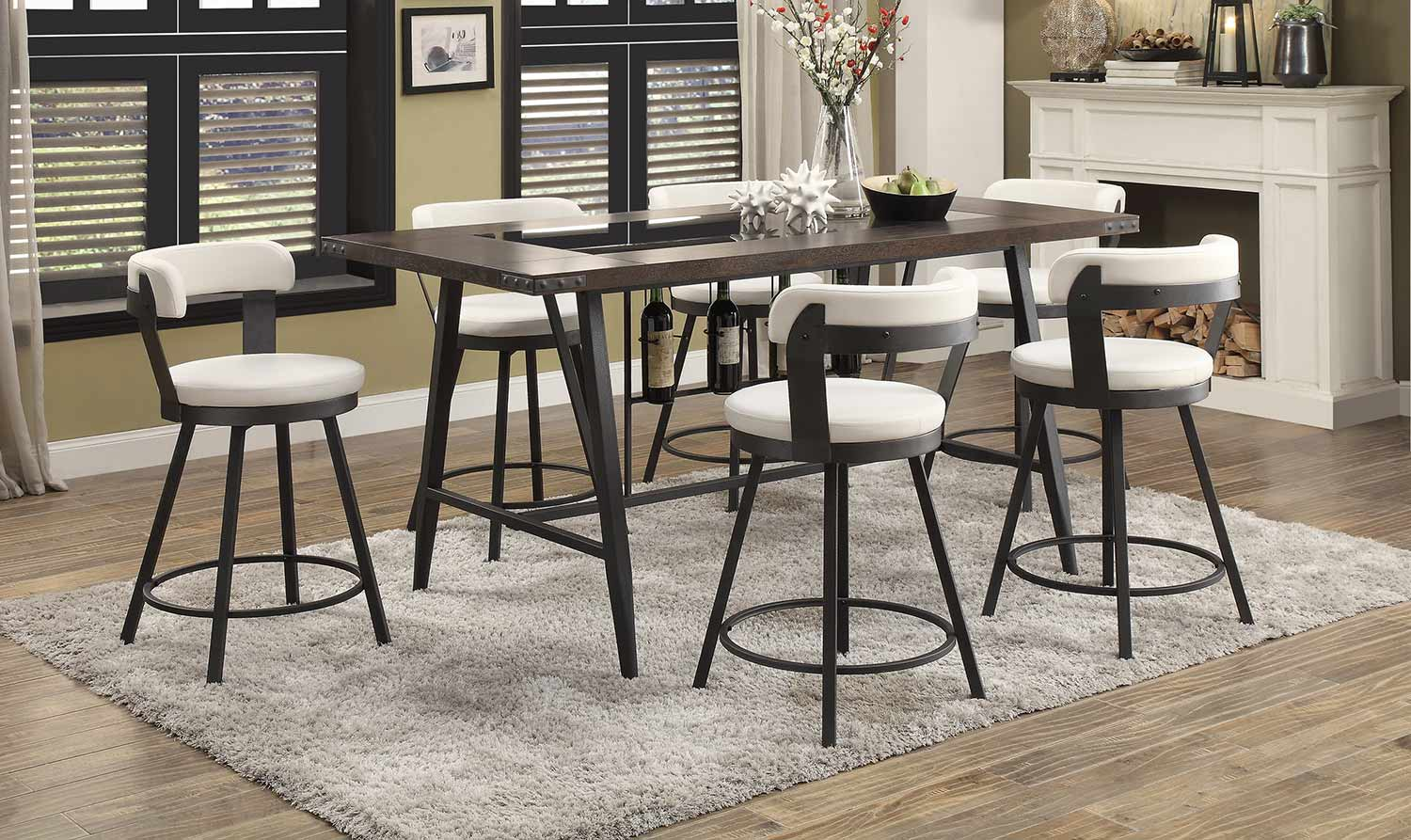 Homelegance Appert Counter Height Dining Set - White - Black Bi-Cast Vinyl