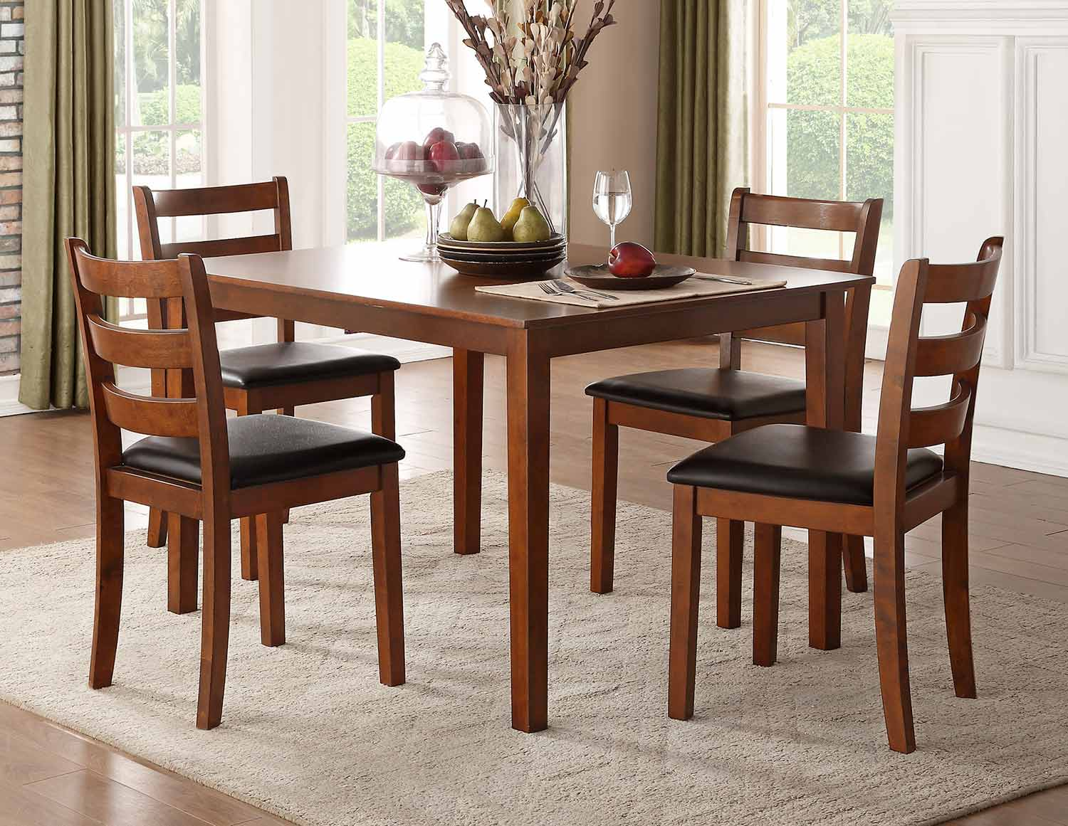 Homelegance Ivins 5-Piece Dining Set - Cherry - Dark Brown Bi-Cast Vinyl
