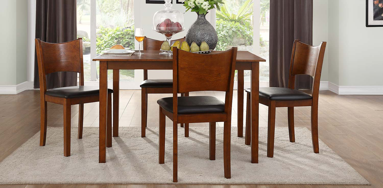 Homelegance Lulea 5-Piece Dining Set - Cherry - Dark Brown Bi-Cast Vinyl