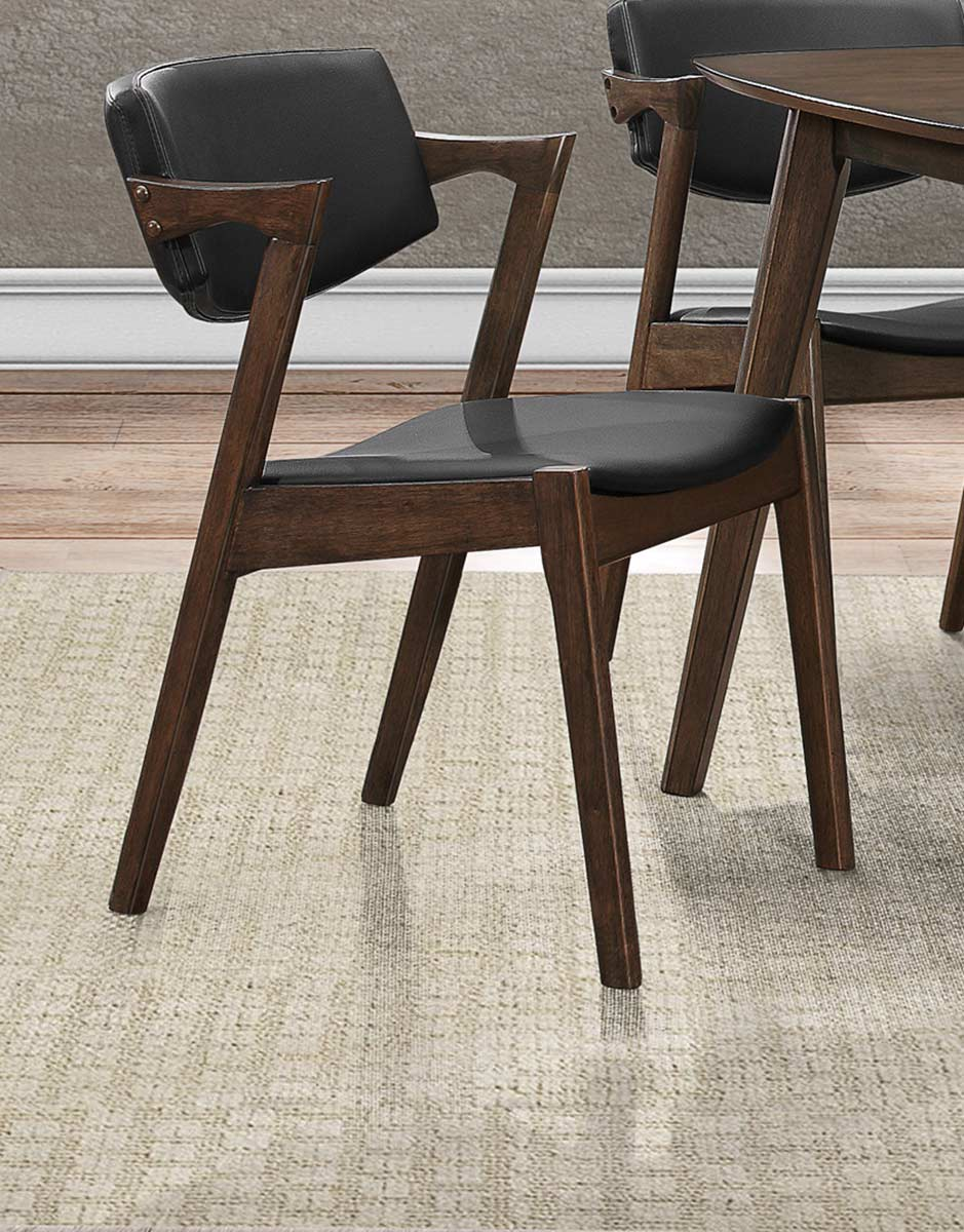 Homelegance Coel Side Chair - Dark Ash Venner - Black Bi-Cast Vinyl