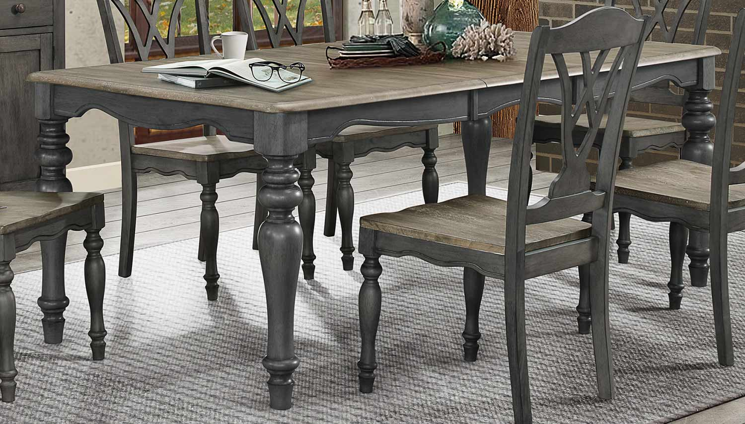 Homelegance Hyacinth Dining Table - Oak Wash and Gray