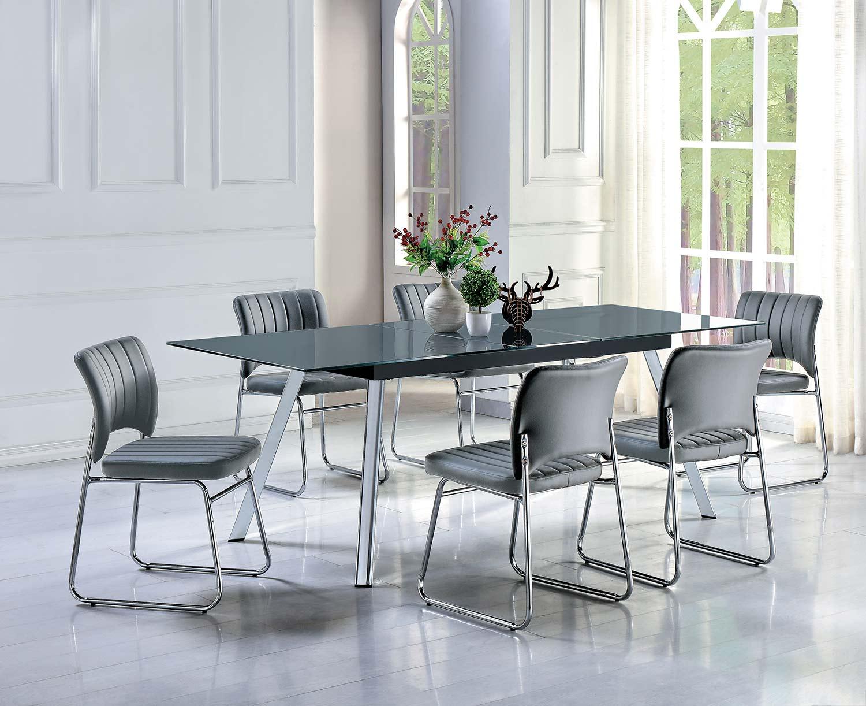 Homelegance Chromis Dining Set - Grey - Grey Bi-Cast Vinyl