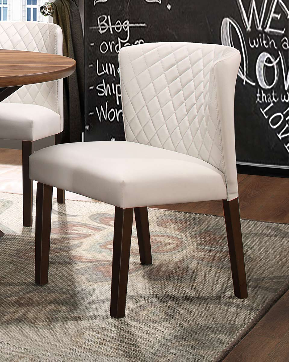 Homelegance Nelina Side Chair - Espresso-White Vinyl