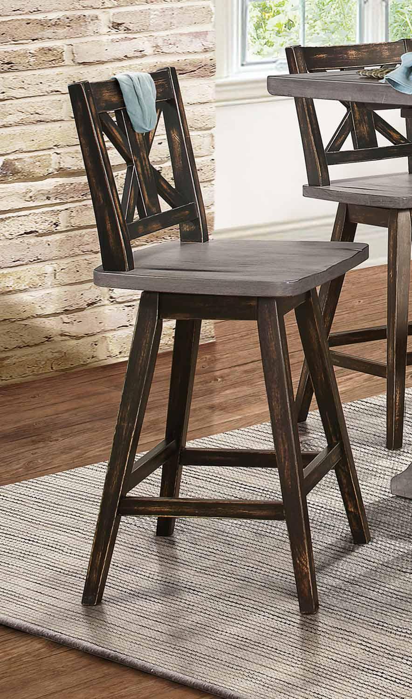 Homelegance Amsonia Swivel Counter Height Chair - Black Sandthrough
