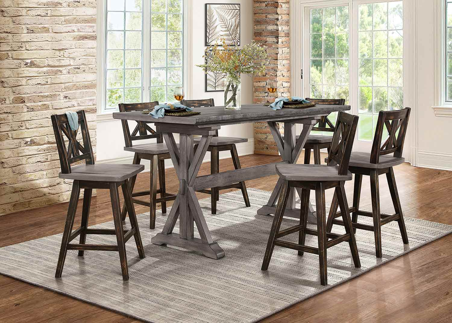 Homelegance Amsonia Counter Height Dining Set - Rustic Gray