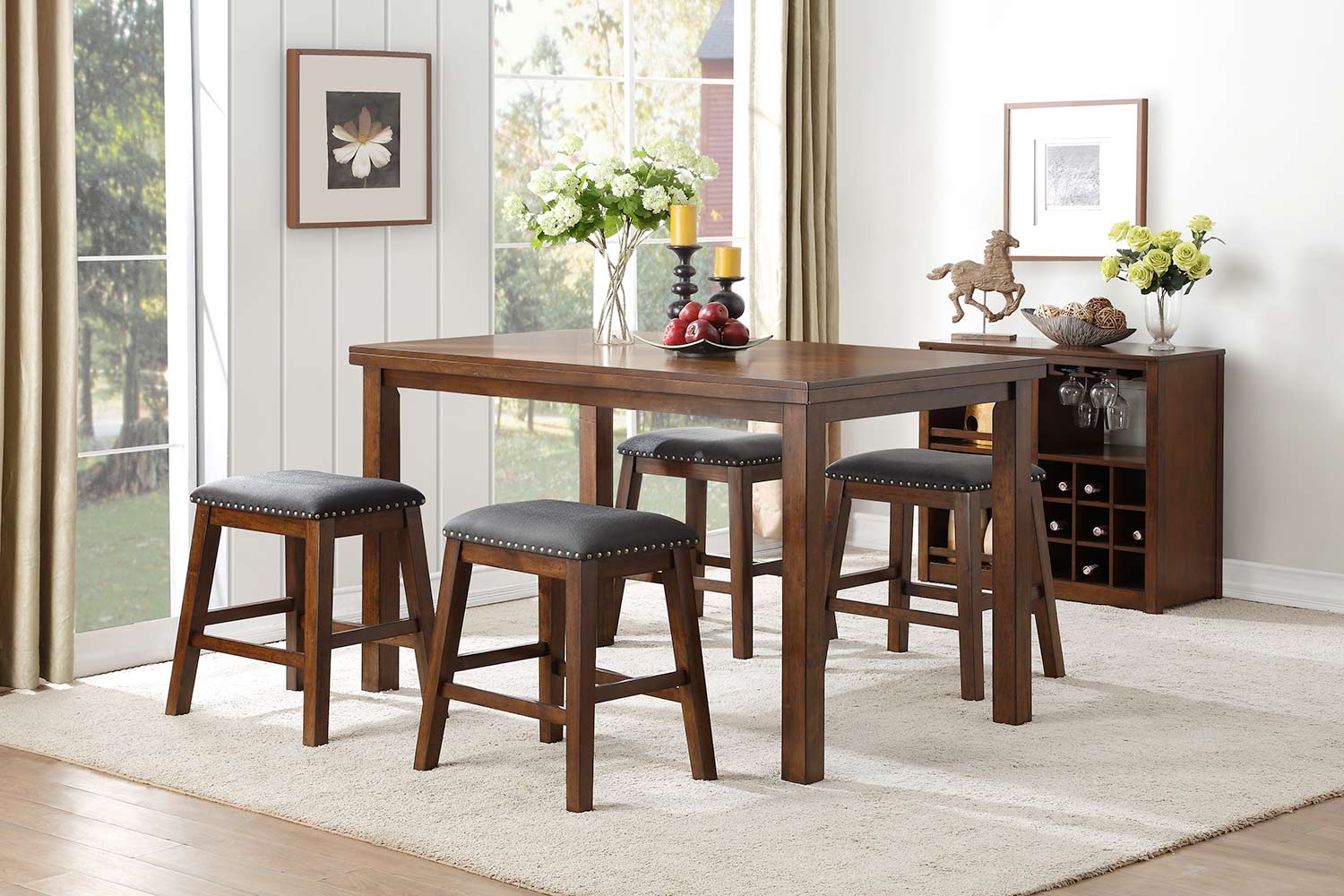 Homelegance Brindle Counter Height Dining Set - Brown