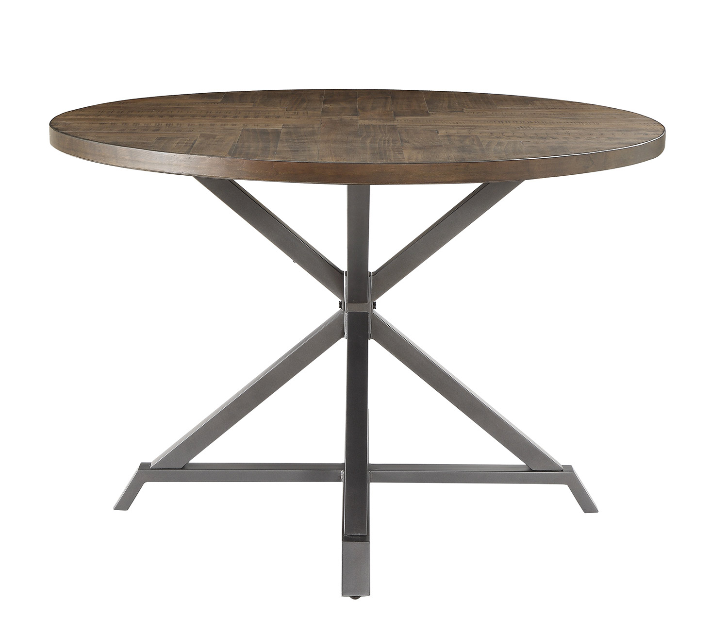 Homelegance Fideo Round Dining Table - Rustic - Gray Metal