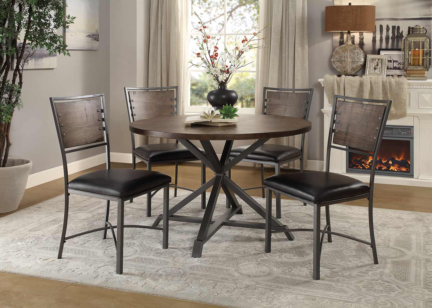 Homelegance Fideo Round Dining Set - Rustic - Gray Metal