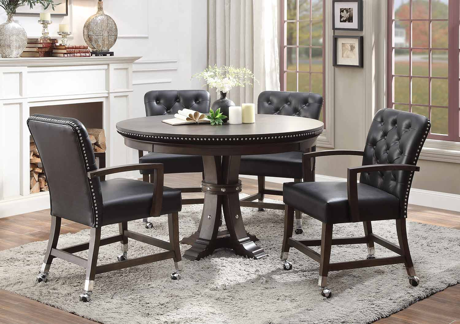 Homelegance Ante Round Dining/Game Table Set - Dark Brown