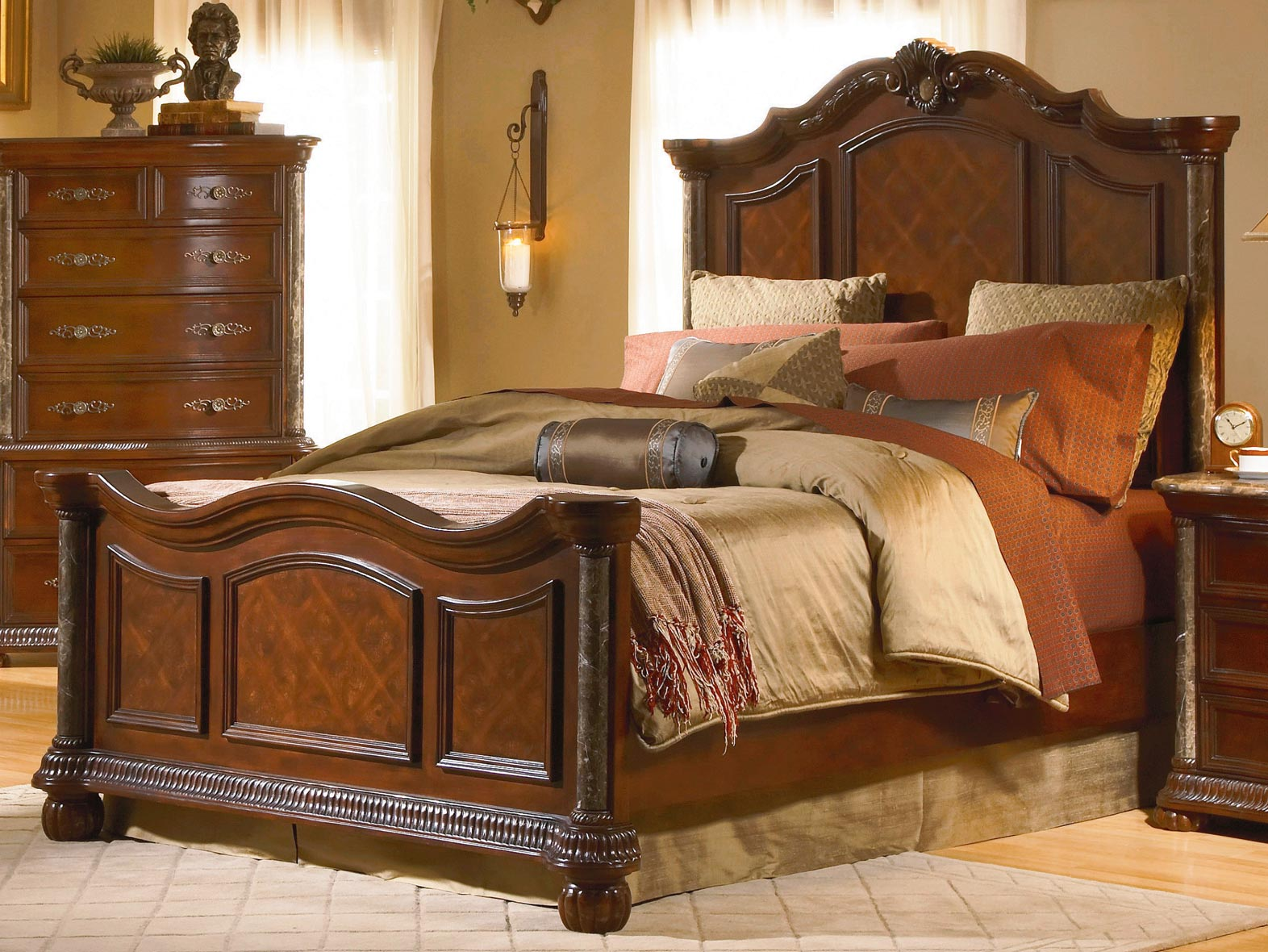 Homelegance Catalina Panel Bed With Marble Pilaster 564 1