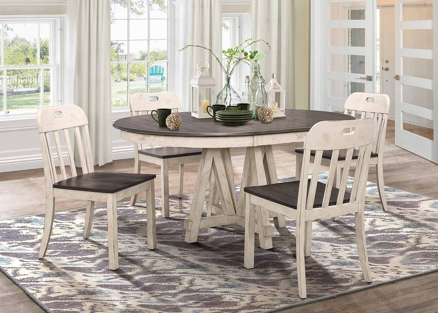 Homelegance Clover Round/Oval Dining Set - Rustic Gray