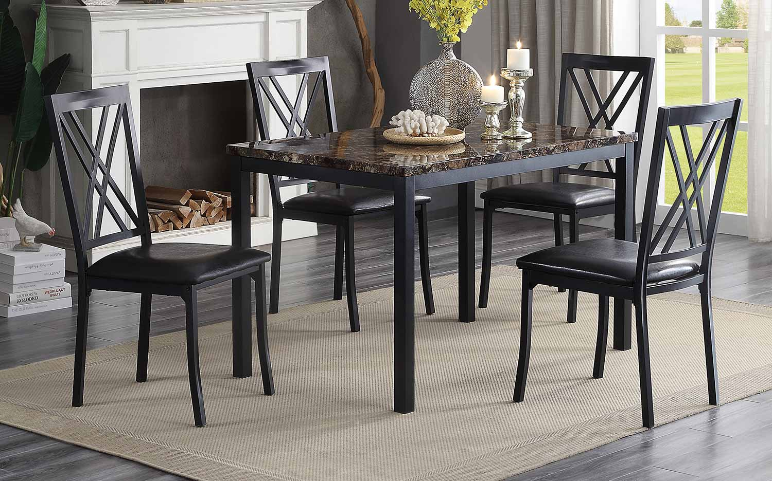 Homelegance Waite Dining Set - Faux Marble Top