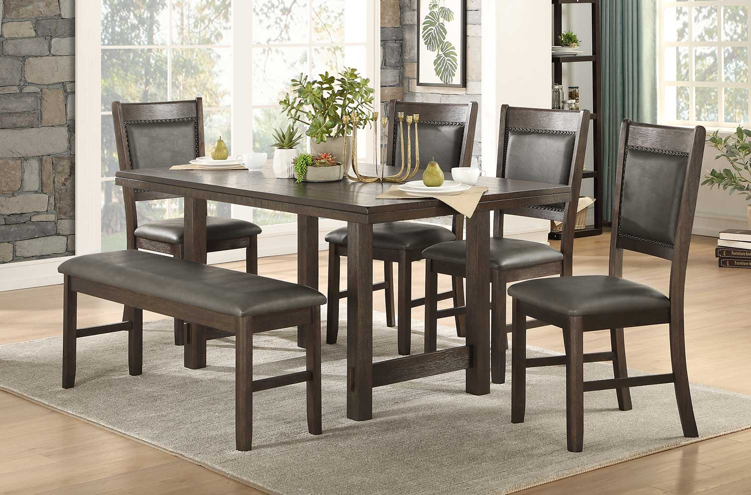 Homelegance Brim Dining Set - Brown Cherry