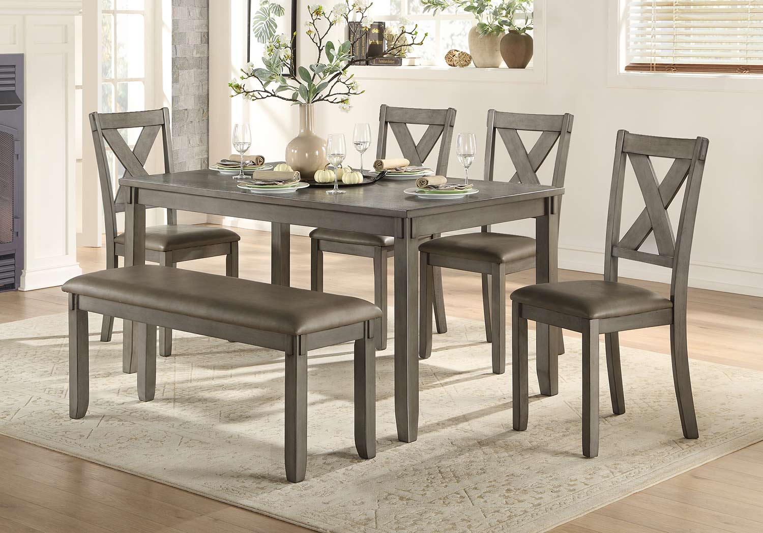 Homelegance Holders 6-Piece Pack Dinette Set - Bench: 46 x 16 x 19H