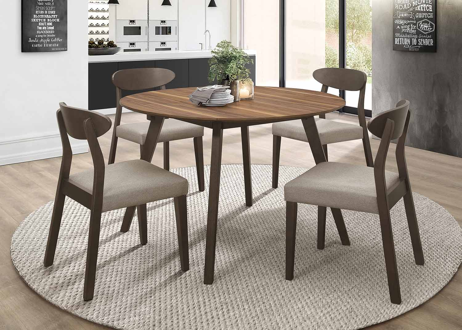 Homelegance Beane Round Dining Set - Walnut 2-Tone