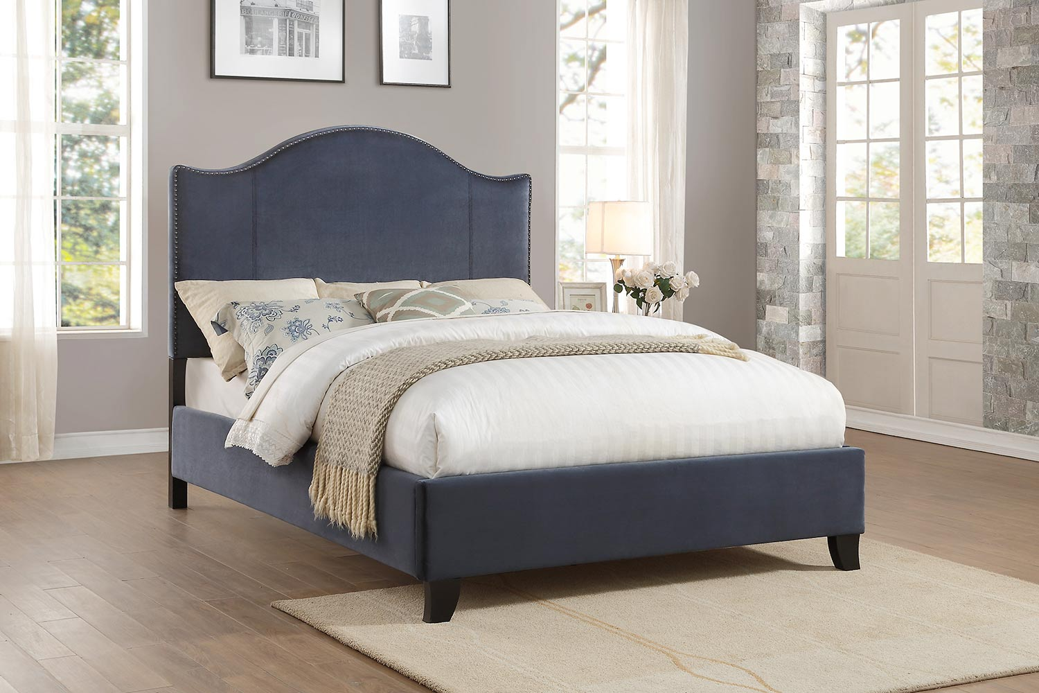 Homelegance Carlow Upholstered Bed - Navy