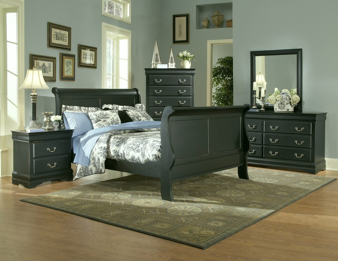 Homelegance Bastille Bedroom Collection in Black Complete 6 pcs