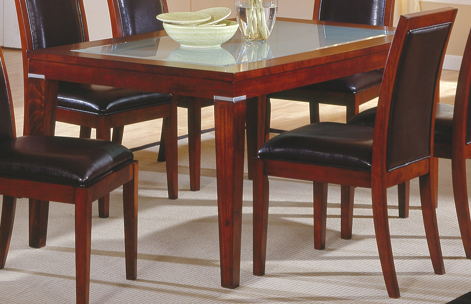 Homelegance carnation dining table with frosted glass 712 for Frosted glass dining table
