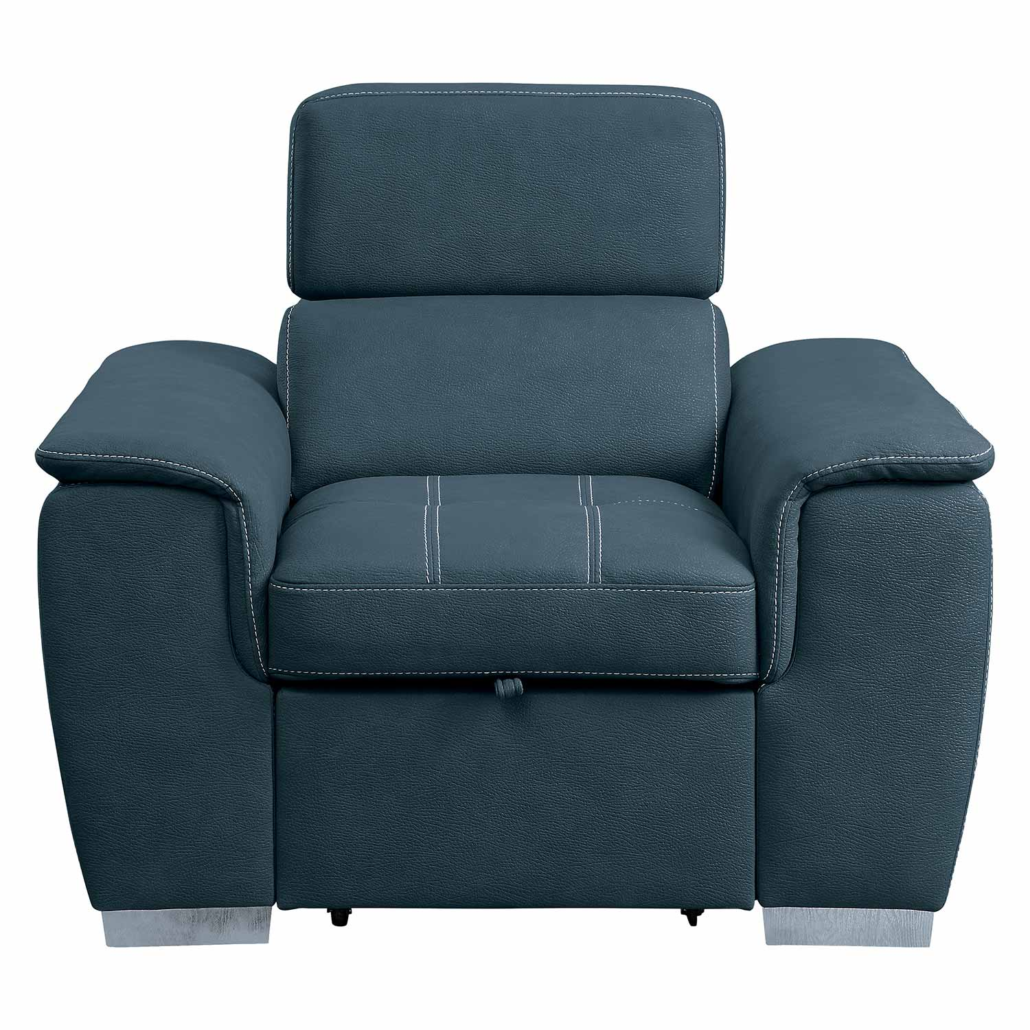 Homelegance Ferriday Chair with Pull-out Ottoman - Blue